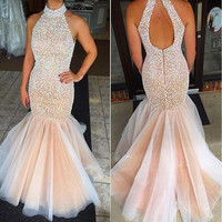 Stunning Beaded Crystal Mermaid Prom Party Dresses 2016 Halter Backless Formal Celebrity Evening Gowns  Robe De Soiree