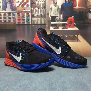 """""""NIKE"""" Fashion Casual Multicolor Knit Breathable Fly Line Unisex Sneakers Couple Runni"""