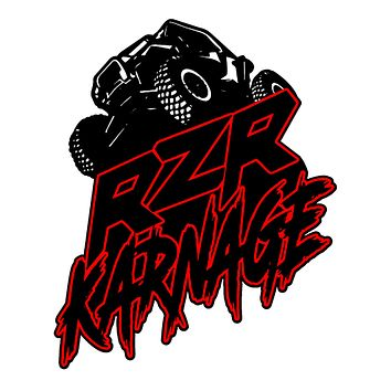 "RZR Karnage Logo with a RZR 6"" Tall Laminated Sticker"