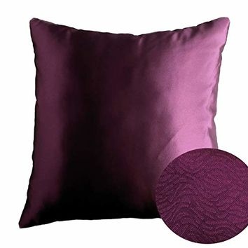 "Plum Aubergine Purple 18"" x 18"" Decorative Solid Satin Square Throw Pillow Cases Cushion Covers Textured for Couch Sofa Bed"
