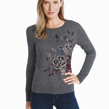 White House Black Market Embroidered Floral Pullover Sweater