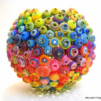 Upcycled Round Rainbow Vase Sculpture made from Magazines, Catalogs & Coupon Circulars