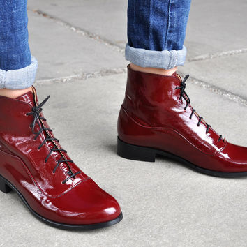 Camden - Womens Fall Boots, Lace-up Leather Boots, Oxford Boots, Burgundy Boots, Patent Leather, Winter Boots, FREE customization!!!