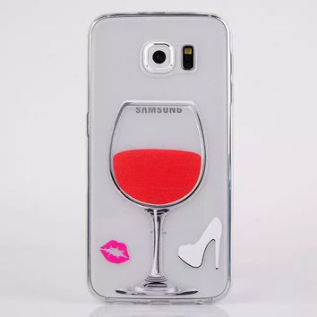 Phone Case Ultra For Samsung Galaxy S6 Edge Thin Soft TPU Transparent  Reliefs Painted Red Wine Cup