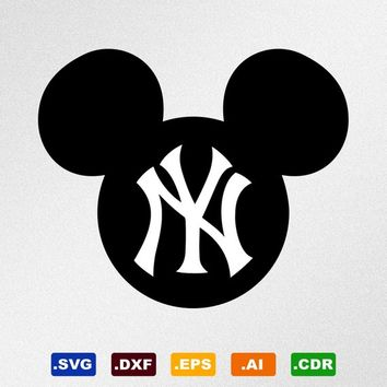 Mickey Mouse New York Yankees Svg, Dxf, Eps, Ai, Cdr Vector Files for Silhouette, Cricut, Cutting Plotter