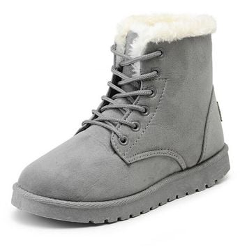 Women Winter Boots Suede Snow Ankle Boots Female Warm Winter Shoes Woman Round Toe Bot