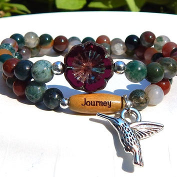 CHOOSE YOUR WORD Journey Bracelet with a Hummingbird Charm