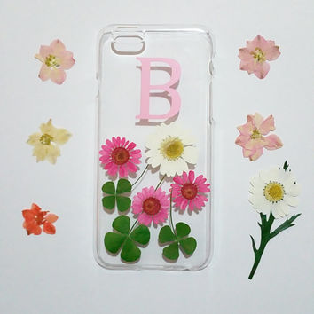 monogram iPhone 6 case,Personalized iPhone 6s Case,pressed flower iPhone 5C case,initial iphone 6 plus case,real flower iphone case