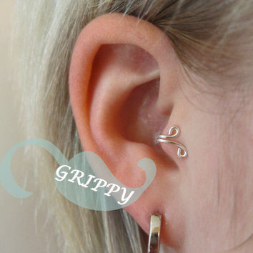 right-side Silvine Tragus Cuff Silver Ear Cuff wire loop swirl curly earring alternative leaf vine
