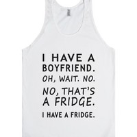 boyfriend fridge tank top-JH-Unisex White Tank