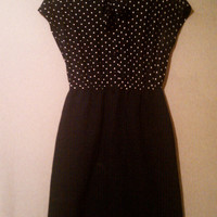 Vintage 1960s PolkaDot  Wiggle Dress Size 10 by airplanesbooks