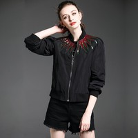 """Gucci"" Women Fashion Embroidery Multicolor Sequin Diamond Long Sleeve Zip Cardigan Baseball Clothes Jacket Coat"