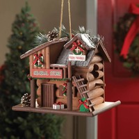 Holiday General Store Log Cabin Birdhouse
