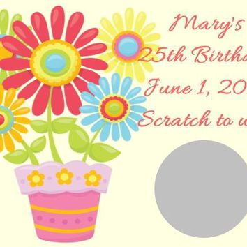 Cute Floral Birthday Party Scratch Off Cards
