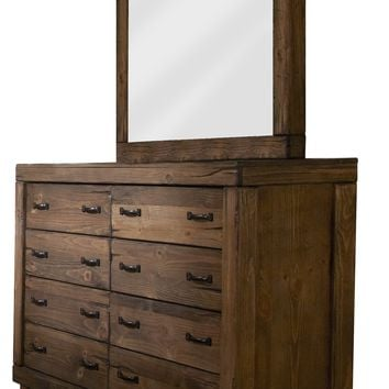 Maverick Rustic Drawer Dresser And Mirror Driftwood