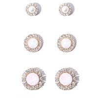 Iridescent Stone Stud Earring Set