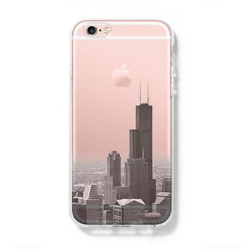 Chicago cityscape iPhone 6s Case 6 plus  SE Case Galaxy S6 Edge Clear Hard Case with Slim Tempered Glass Screen Protector C064