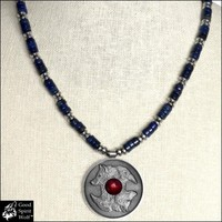 Wolf and Raven Coin Medallion on Lapis Lazuli and Hematite Bead Necklace