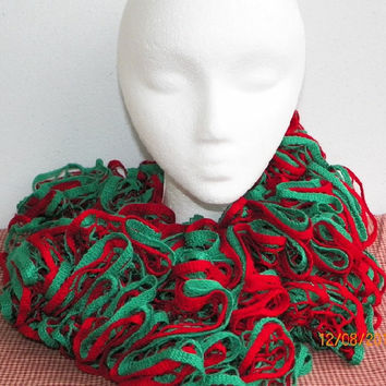 Free Shipping in U.S.A - Christmas Tree - Crochet Ruffle Scarf - Starbella Crochet Scarf - Red Green Starbella Yarn - Discounted Scarf