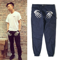 Men's Skull Hand Pattern Pants Fashion Long Trousers Skeleton Harem Chinos calc Swag Hip Hop Pants Free Shipping
