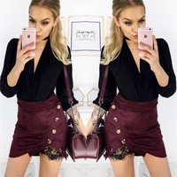 Women Fashion Solid Color Lace Stitching Irregular Pack-hip Short Skirt