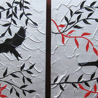 birds art red black white gray grey silver 2 two canvases textured painting paintings modern  wall custom made
