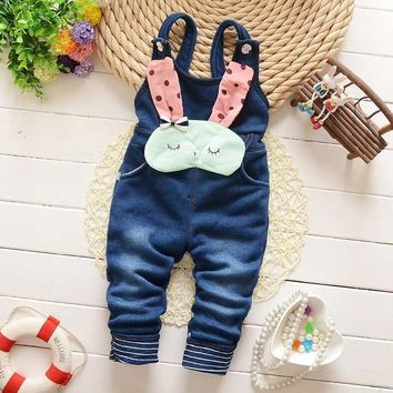 2017 Spring Autumn Winter Children Clothing Kids Baby Vintage Rabbit Faux Denim Jeans Blended Overall Long Pants Trousers