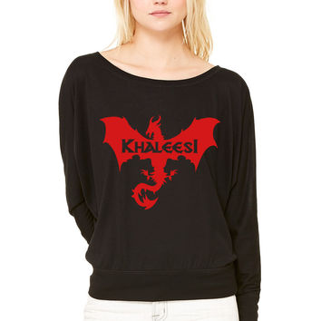 khaleesi mother of dragons WOMEN'S FLOWY LONG SLEEVE OFF SHOULDER TEE