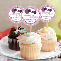 """It's a Girl! Elephant A Little Peanut - Baby Shower Cupcake Toppers - INSTANT Download 2.25"""" - Printable"""