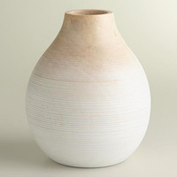 Short Round White Ombre Wood Vase