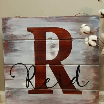 Distressed Last Name Wood Sign