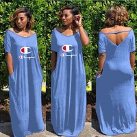 Champion Tide brand women's letters casual wild dress blue