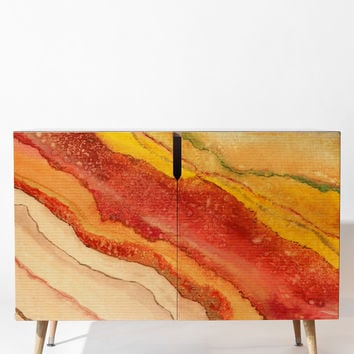 Viviana Gonzalez AGATE Inspired Watercolor Abstract 03 Credenza