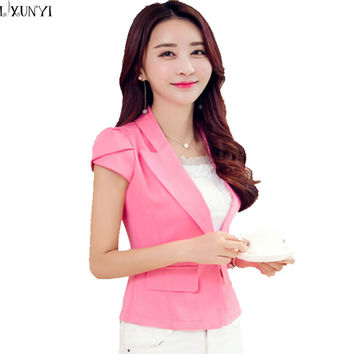 2016 Summer Korean Bazer Feminino OL Slim Short Blazer Women Short Sleeve Ladies Plus Size Office Suit Black White Pink Blue Hot