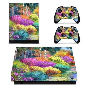 X0034 Game accessories Skin Sticker for Microsoft Xbox One X Console and 2 Controllers skins Stickers for XBOXONE X Enhanced