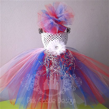4th of July Red White and Blue Tutu Dress Set with Matching Headband for Pageants, Birthdays, Holidays