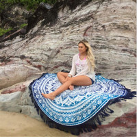 Blue Mandala  Round Tassel Beach Towel Beach Bikini Cover Up