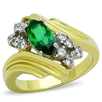 WildKlass Stainless Steel Ring Two-Tone IP Gold (Ion Plating) Women Synthetic Emerald