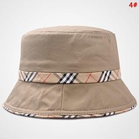 Burberry Fashion New Plaid Women Men Travel Leisure Cap Fisherman's Hat 4#