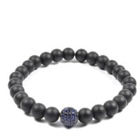 6mm Matte Black Onyx with 7mm CZ Bead in Navy and Black
