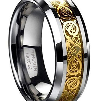 8mm Tungsten Carbide Ring Gold Celtic Dragon Wedding Band (Platinum)