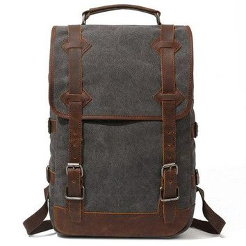 University College Backpack Men's s Vintage Canvas Leather Laptop  Male  School Bags High Quality Waterproof Big Travel Bag RucksackAT_63_4