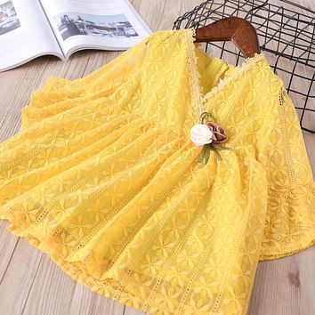 New baby Girl clothes Children Summer Clothing full flare sleeve dress Kids Clothes lace v-neck Casual solid dresses