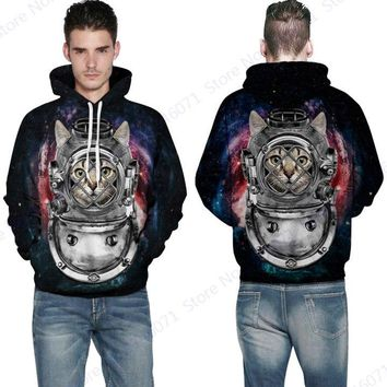 Cute Space Armour Cat KITTY AND MOUSE Hoodies Pocket Mens Skateboard Sweatshirts Autumn & Winter Pullover Hooded Long Sleeve