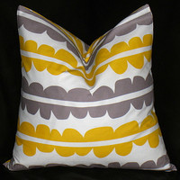 """Decorative Pillow Cover slate grey and yellow on white ONE 16 x 16 inches Lotta Jansdotter ECHO Modern Pillows 16"""""""