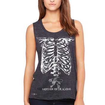 Mother Of Dragons X-Ray Rib Cage Women's Muscle Tee Pregnant Halloween Costume Got Throny Tanks