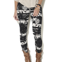 Distressed Aztec Print Legging | Shop Just Arrived at Wet Seal