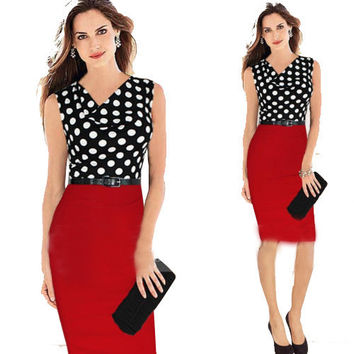 Vestidos Women Work Wear Formal Office Dresses Ladies Elegant Casual Bodycon Polka Dot Party Pencil Sleeveless Dress JX028