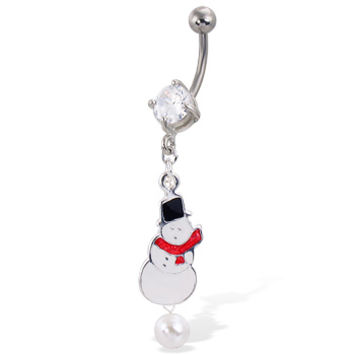 Christmas Belly Button Ring with Dangling Snowman