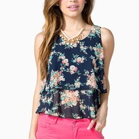 Floral Double Layer Ruffle Tank
